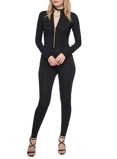 Solid Catsuit with Zipper Neckline,BLACK,large