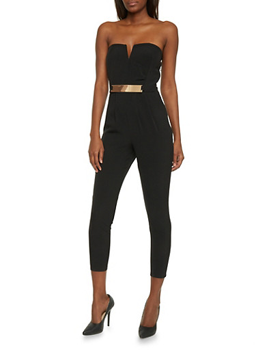 Strapless Pleated Jumpsuit,BLACK,large