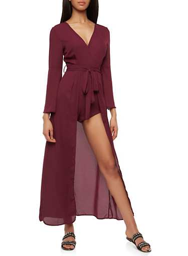 Faux Wrap Romper with Maxi Skirt Overlay,BURGUNDY,large