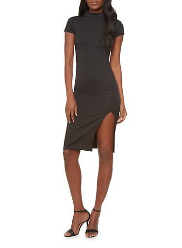 Ribbed Midi Dress With Mock Neck And Slit,BLACK,large