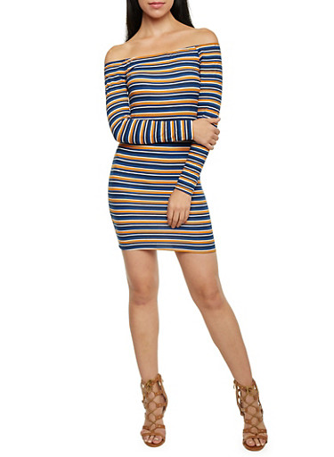 Off the Shoulder Mini Dress with Stripes,MUSTARD,large