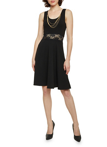 Sleeveless Skater Dress with Lace Cutout,BLACK,large