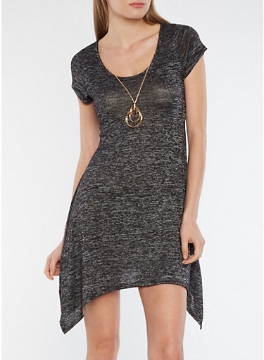 Marled Asymmetrical Skater Dress with Necklace,CHARCOAL,large