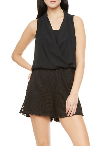 Sleeveless Chiffon And Lace Short Romper With Keyhole Back Cutout,BLACK,large