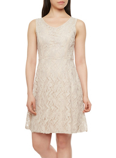 Sleeveless Lace Skater Dress with Waist Tie,TAUPE,large