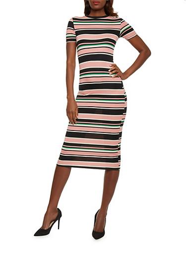Multicolored Striped T Shirt Dress,MAUVE BLK,large