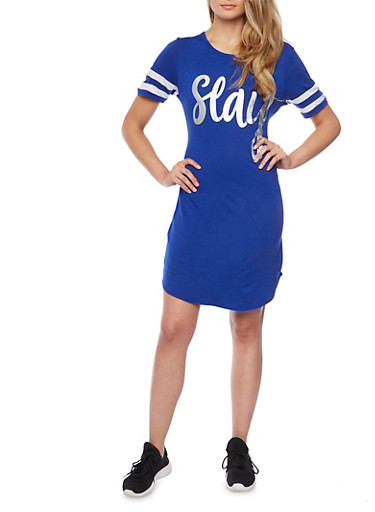 Varsity Stripe T Shirt Dress with Slay Graphic,ROYAL/WHT,large