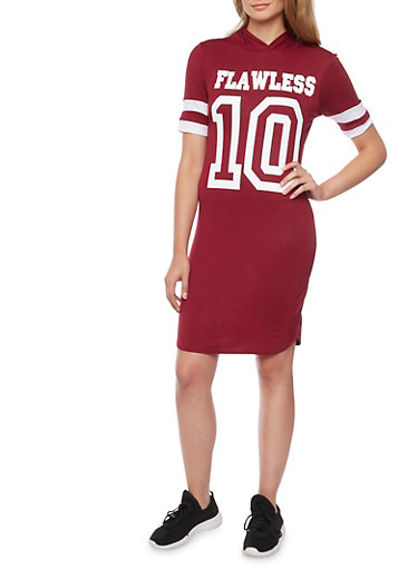 Hooded T Shirt Dress with Flawless Graphic,BURGUNDY/WHT,large
