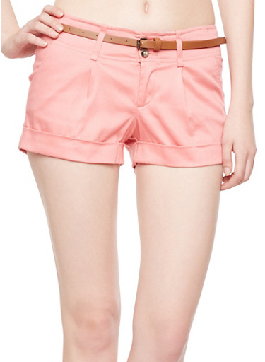 Pleated Shorts with Rolled Cuffs and Removable Skinny Belt,DARK PINK,large