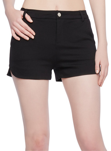 Stretch Shorts with Scalloped Pockets,BLACK,large
