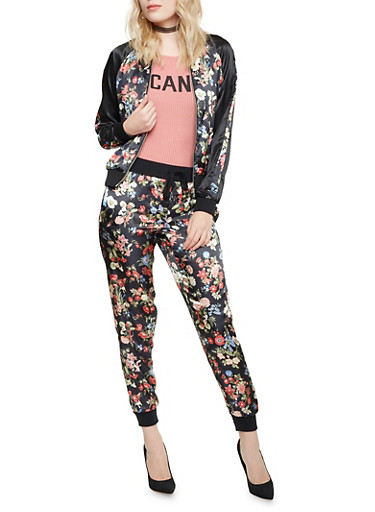 Bomber Jacket in Floral Print Satin,BLACK FLORAL,large