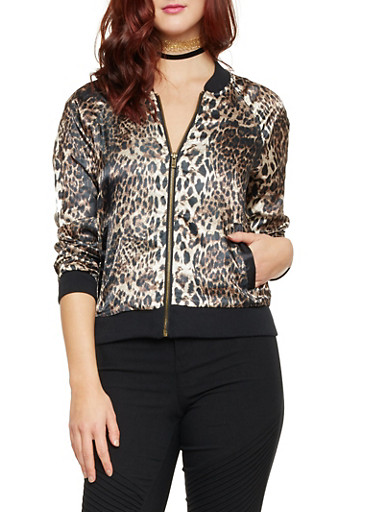 Bomber Jacket in Leopard Print Sateen,BROWN ANIMAL,large