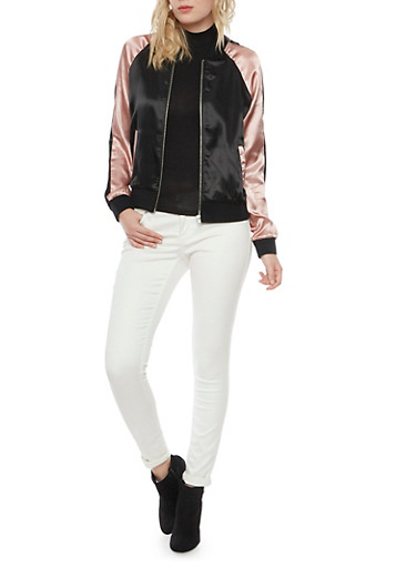 Color Block Bomber Jacket in Satin,PINK BLK,large