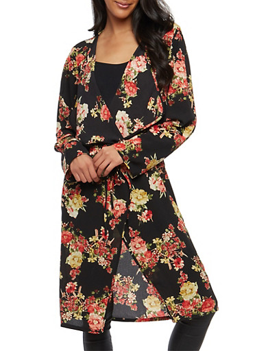 Tie Waist Floral Duster,BLACK/RED,large