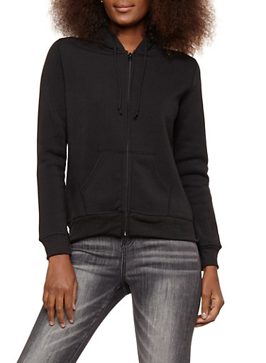 Zip Front Hooded Fleece Sweatshirt,BLACK,large