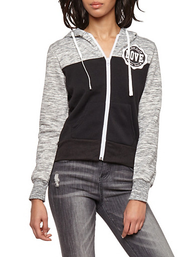 Love Color Block Zip Up Hooded Sweatshirt,BLACK,large