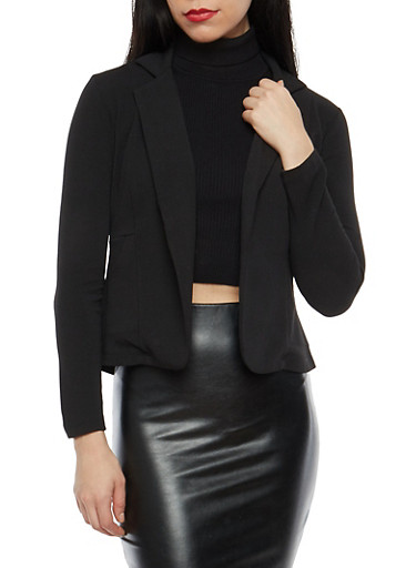 Textured Knit Open Front Blazer,BLACK,large
