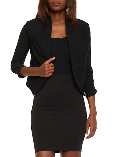 Open Front Blazer with Ruched Sleeves,BLACK,large
