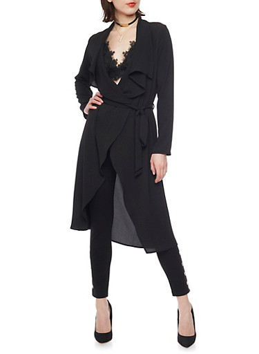 Crepe Long Sleeve Duster Cardigan with Tie Belt,BLACK,large