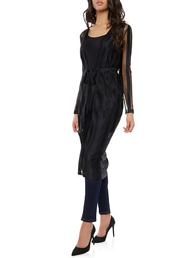 Belted Shadow Stripe Duster,BLACK,large