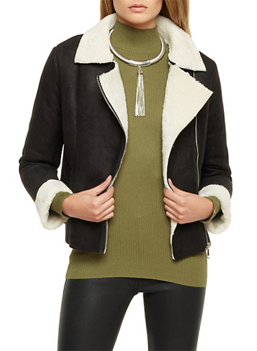 Faux Shearling Jacket with Asymmetrical Zip,BLACK,large