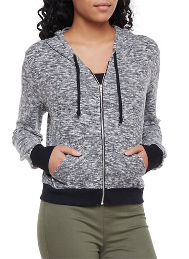 Marled Hoodie with Contrasting Rib Knit Trim,GRAY,large