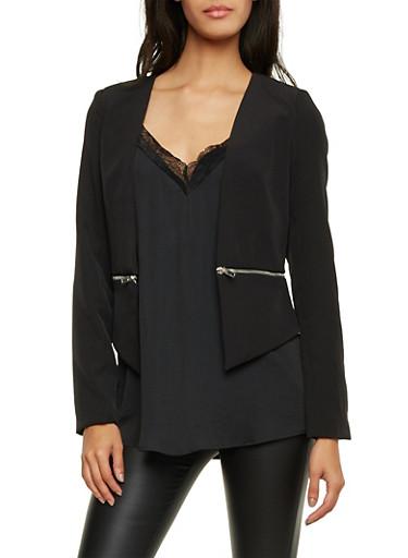 Blazer with Zipper Panel,BLACK,large