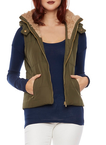Hooded Vest with Faux Fur Trim,OLIVE,large