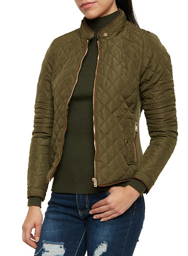 Quilted Jacket with Zip Pockets,OLIVE,large