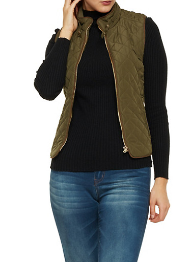 Quilted Vest with Faux Suede Trim,OLIVE,large