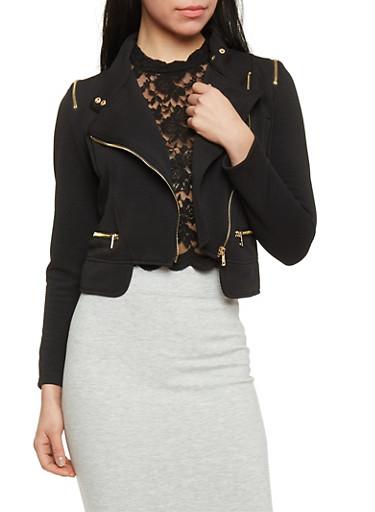 Rib Knit Moto Zip Jacket with Faux Pockets,BLACK,large