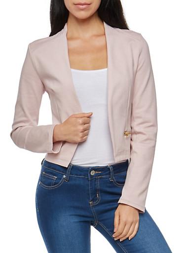 Blazer with Asymmetrical Zip Mesh Back Detail,ROSE,large