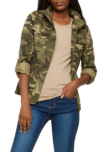 Camouflage Hooded Anorak Jacket,CAMOUFLAGE,large