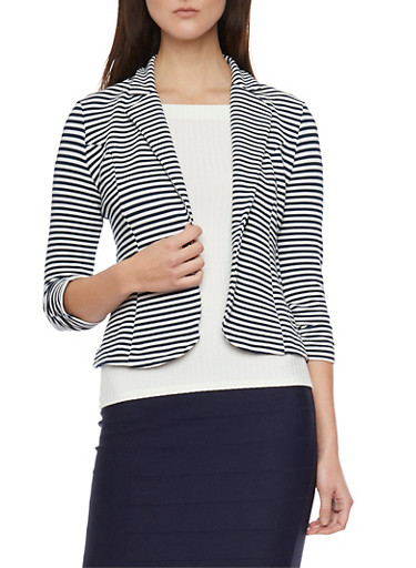 Striped Blazer with Ruched Sleeves,NAVY WHITE,large