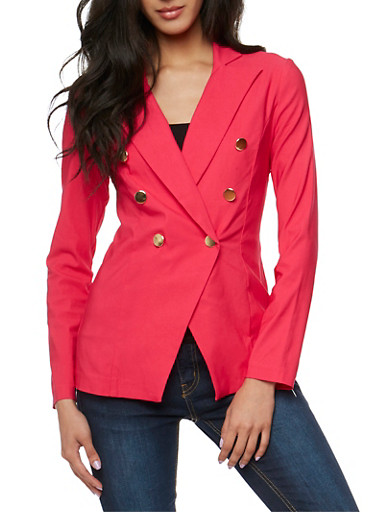 Solid Double Breasted Long Sleeve Blazer,FUCHSIA,large