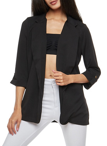 Tabbed Sleeve Open Front Blazer,BLACK,large