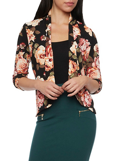 Floral Print Blazer with Draped Lapels,BLACK,large