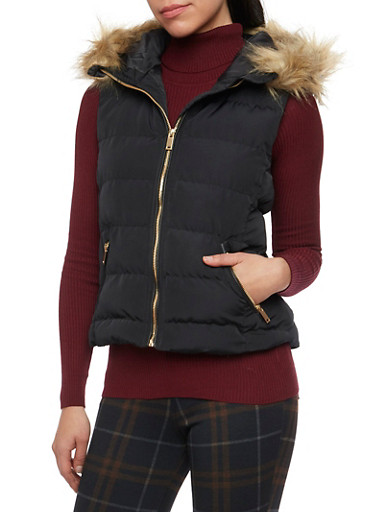 Puffer Vest with Faux Fur Trimmed Hood,BLACK,large