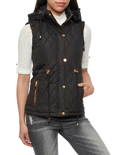 Quilted Vest with Faux Fur Lining and Hood,BLACK,large