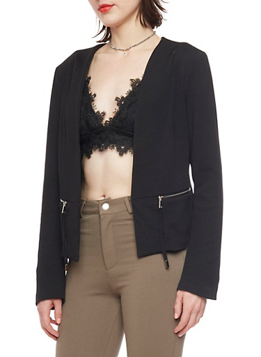 Solid Textured Knit Open Front Blazer,BLACK,large