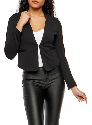Textured Knit Blazer,BLACK,large