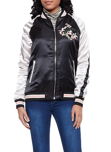 Color Block Satin Bomber Jacket with Embroidery,BLACK,large