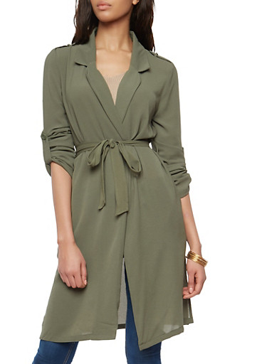 Belted Roll Sleeve Duster,OLIVE,large