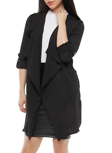 Crepe Knit Flyaway Duster,BLACK,large