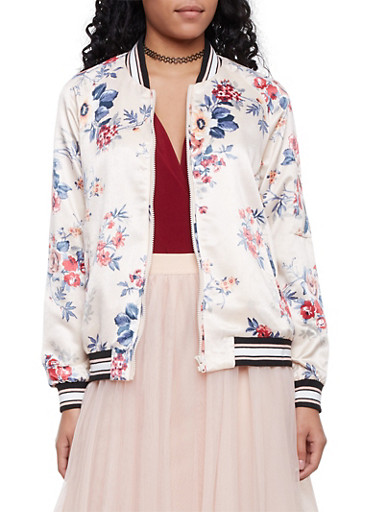 Satin Bomber Jacket in Floral Print,IVORY,large