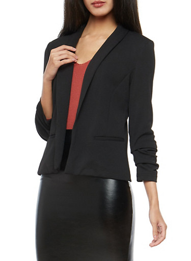 Open Front Ruched Sleeve Blazer,BLACK,large