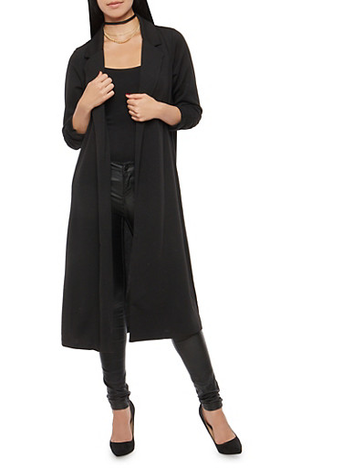 Textured Knit Ruched Sleeve Duster,BLACK,large