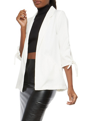 Tie Sleeve Open Front Blazer,WHITE,large