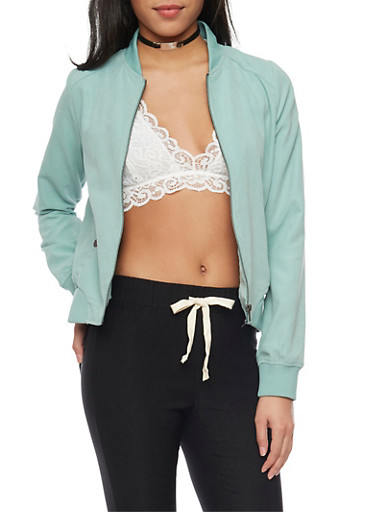 Brushed Knit Bomber Jacket,SAGE,large