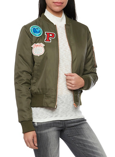 Padded Bomber Jacket with Patches,OLIVE,large